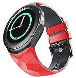WIIKAI Correa de repuesto para reloj, compatible con Samsung Gear S2, correa de reloj. (rojo negro)