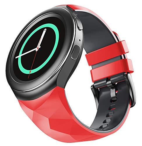 WIIKAI Ersatz-Uhrenarmband, kompatibel mit Samsung Gear S2, Uhrenarmband. (Rot / Schwarz)