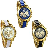 JewelryWe Wholesale 3PCS Men's Roman Numbers Dial Two-Tone Stainless Steel Watches