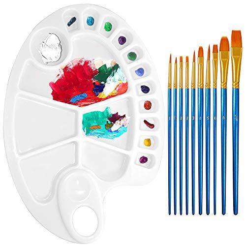 Paleta de pintura antiadherente con 10 pinceles de pintura de nailon, bandeja de mezcla de acuarela al óleo AIFUDA, juego de pinceles de fácil limpieza, herramienta de pintura para niños