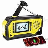 BMBMPT Emergency Weather Radio, AM/FM/NOAA Weather Solar Hand Crank Radio with Large LCD Display, LED Flashlight, Earphone Jack, Bottle Opener, SOS Alarm for Outdoor Emergency, 2000 mAh Power Bank