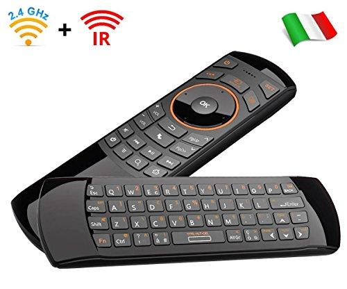 Rii Mini i25 Wireless + IR (Layout Italiano) - Mini Tastiera con Mouse giroscopico e Telecomando infrarossi programmabile per Smart TV e TV Box Android, Mini PC Windows, Mac e Linux.