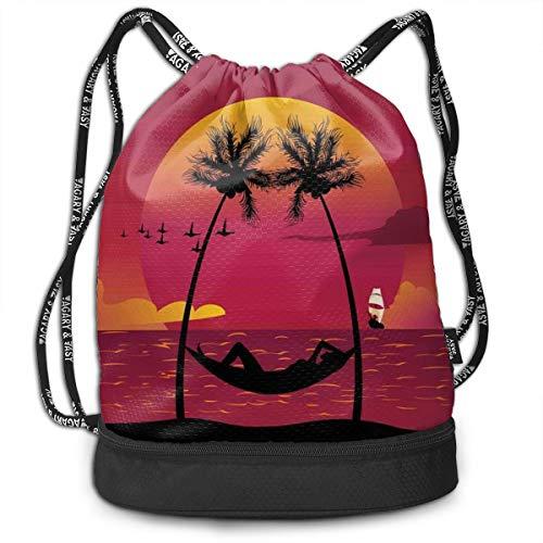 Zaini con coulisse zaini,Ragazza sdraiata in un'amaca Costa Caraibica Relax Vacation Sunset,Chiusura regolabile stringa
