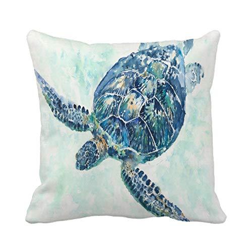 Asminifor Turtle Pillow Cover Ocean Park Decor Sea Coastal Theme Decorative Pillow Covers Super Soft Square Pillowcase Cushion Covers 18x18 Inches (Turtle Style3)