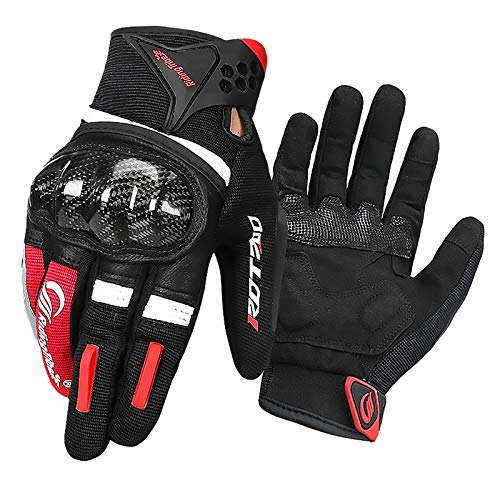 LVNRIDS Guanti da Moto Uomo Donna, Guanti da corsa Traspirante Touchscreen per Ciclismo Motocross Rosso XL