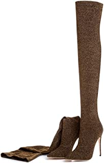74bb187a21a T-JULY Fashion Women s Over The Knee Boots Luxury Sequin Cloth Glitter  Stiletto Thigh High