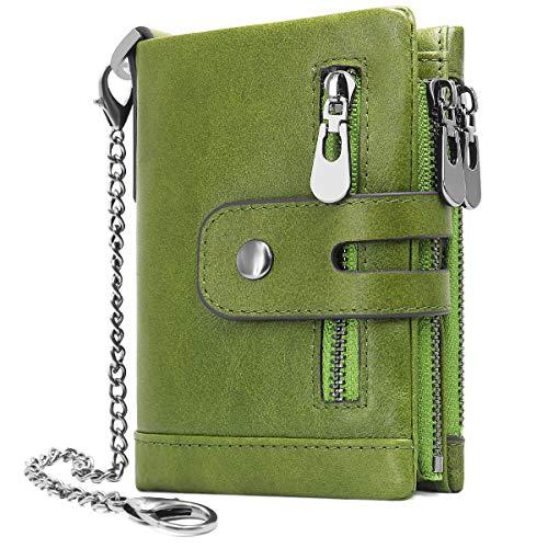 REETEE Damen Geldbörse klein Geldbeutel Damen Leder Reißverschluss Geldbörsen RFID Schutz Damengeldbörse mit Kette,Doppelte Falte Damen Portemonnaie 16 Kartenfächer Mädchen Brieftasche (Grün)