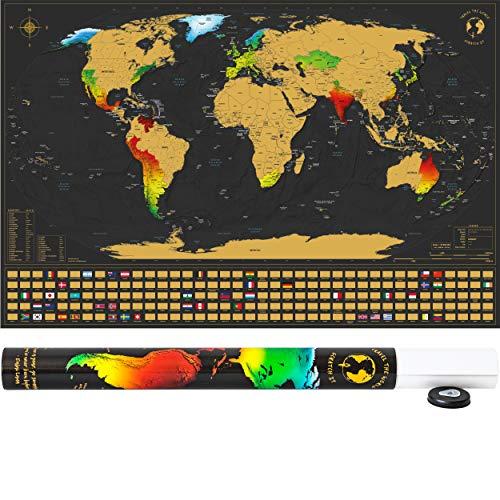 SCRATCH IT Weltkarte zum Rubbeln - Rubbel Landkarte - Poster XXL zum Freirubbeln inkl. Geschenkverpackung (Gold/Schwarz 84 x 55 cm Englisch - Made in Germany)