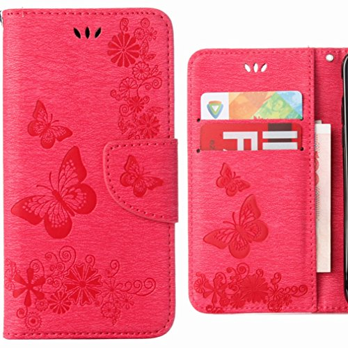 Ougger Hülle für Huawei P20 Lite Handyhüllen, Tasche Leder Schutzhülle Schale Weich TPU Silikon Magnetisch-Stehen Flip Cover Tasche P20 Lite mit Kartensteckplätzen, Schmetterling Streifen (Rosa)