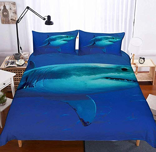 XZHYMJ 3D Digital Printing Undersea shark blue quilt cover bed linings Duvet cover sets 3pcs 12 king-Twin_21