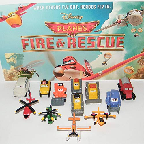Planes Fire and Rescue Movie Figure Set Toy Mini Playset of 12 with Crop Duster Dusty, Blade, The Piston Peak Smoke Jumpers, Ranger, Blade and More!