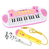 Love&Mini Piano Toy Keyboard for Kids Birthday Gift Pink Music Instruments with Microphone