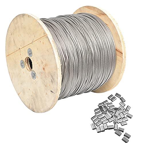 AIMIMI Rostfritt stål vajerrep 1 x 7 konstruktion 100 m med 30 st aluminium krimpningsklämmor slinga för räcke trall balustrade stränglampor, 0,6 mm