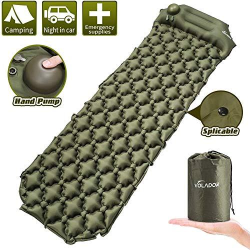 Volador Selbstaufblasbare Isomatte, Handpresse Aufblasbare Ultralight Isomatten Camping Schlafmatte, wasserdichte Feuchtigkeitsbeständige Campingmatratze, Luftmatratze Kompakte für Outdoor Armygrün