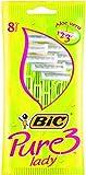 BIC Pure 3 - Maquinillas de afeitar para mujeres (Verde, 8 pieza(s))