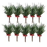 VOSAREA 10 Stücke Weihnachten Zweig mit Zapfen und Beeren Picks Künstliche Tannenzweige Beerenzweige Dekozweige für Baumschmuck Weihnachtsschmuck Weihnachtsdeko
