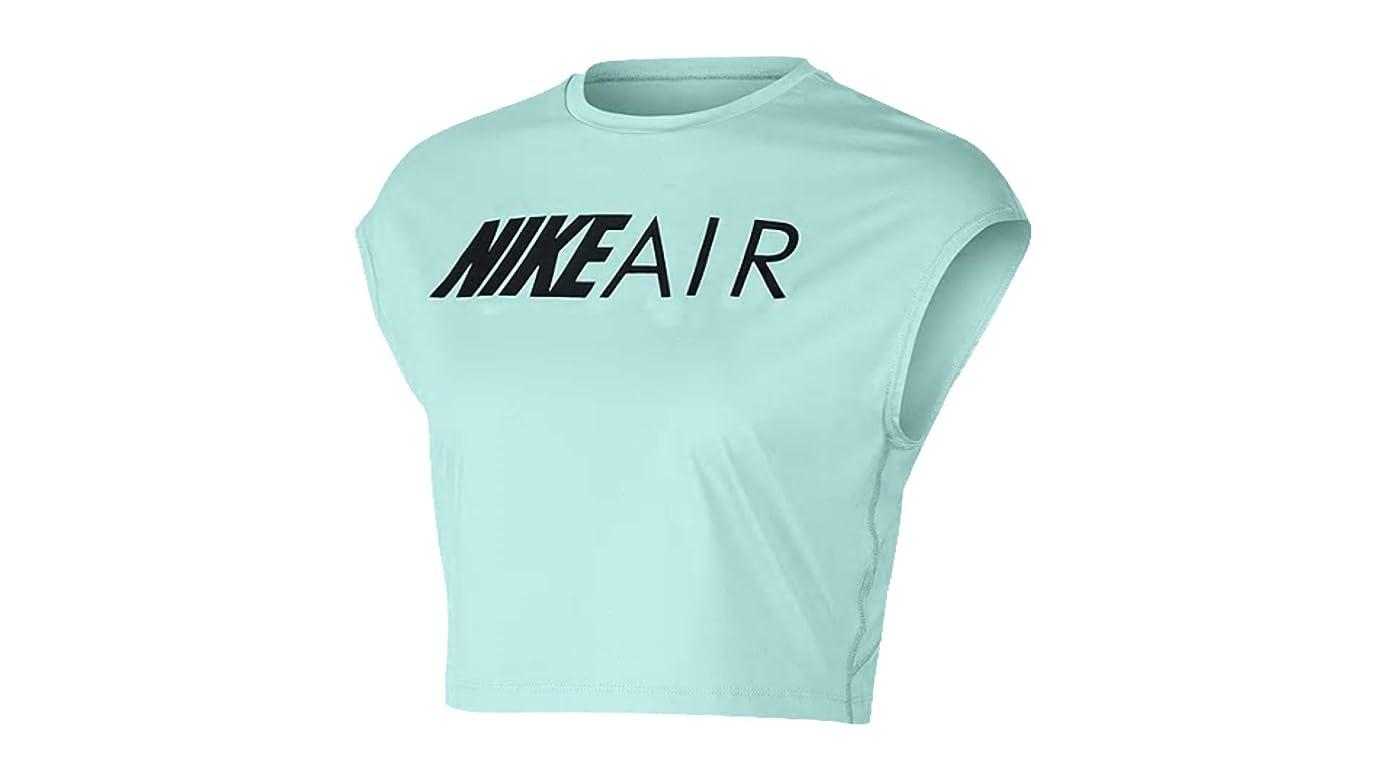 Nike Womens Dri-Fit Air Cropped Graphic Tank Top Teal Tint/Black AV6262-336