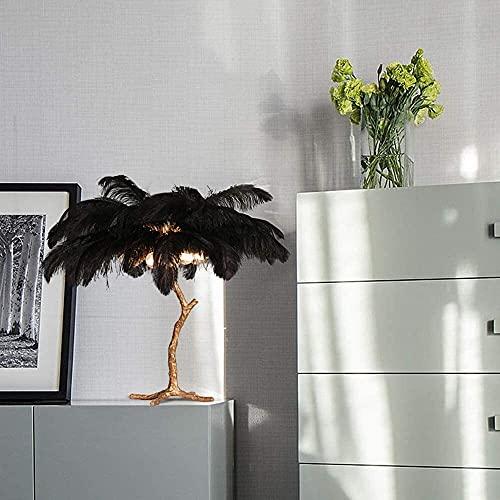CMMT Lámpara de escritorio de plumas negras lámpara de mesa de cobre puro escritorio sala de estar comedor dormitorio estudio luz de lectura de lujo decoración creativa adornos 70 x 70 cm