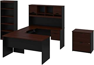 BESTAR 3-Piece Set Including a U-Shaped Desk with Hutch, a lateral File Cabinet, and a Bookcase - Innova