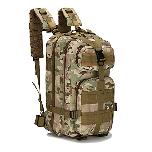 horeen Military Tactical Backpack Small Rucksacks Hiking Bag Outdoor Trekking Camping Tactical Molle Pack (Jungle camouflage)