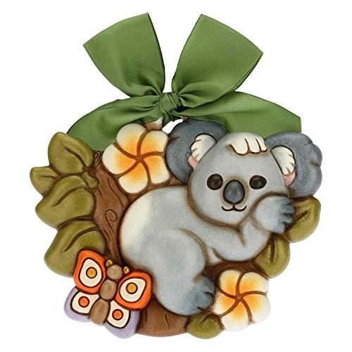 THUN - Formella Koala Adelaide - Living, Arredare la Casa - Idea Regalo - Linea Time for Tenderness - Ceramica; Fiocco Nastro Verde - 15,7x3,3x13,1 h cm; Nastro Verde 55 cm