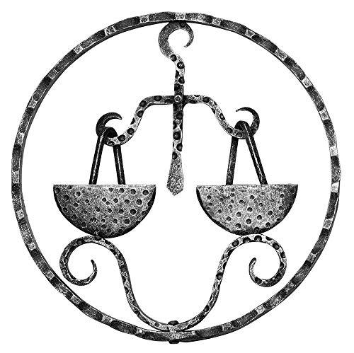 Fenau | Signo zodiacal Libra | Ø 200x5 mm | Acero S235JR, bruto | Hierro forjado | Para elementos de vallas o cancelas de hierro forjado