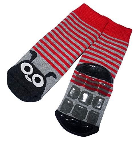 Weri Spezials Weri Spezials Baby Voll-ABS Socke Hase Motiv in Rot-Grau Gr.18-19 (9-12 Monate)