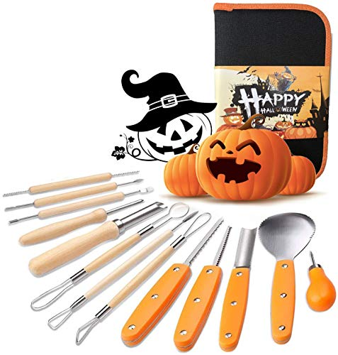 Halloween Kürbis Schnitzset, Edelstahl Kürbis Schnitzwerkzeuge 13-teiliges Set, Halloween DIY Dekoration Kürbis-Carving-Set mit Tragetasche