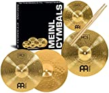 Meinl Cymbal Set Box Pack with 13' Hihats, 14' Crash, Plus Free 10' Splash, Sticks, and Lessons TWO-YEAR WARRANTY, (HCS1314-10S)