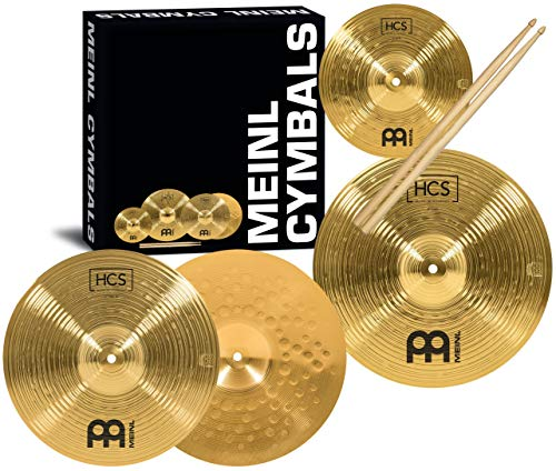 "Meinl Cymbal Set Box Pack with 13"" Hihats, 14"" Crash, Plus Free 10"" Splash, Sticks, and Lessons TWO-YEAR WARRANTY, (HCS1314-10S)"