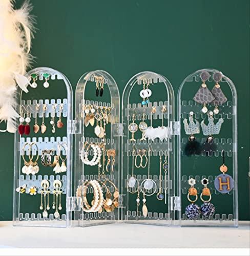Soporte para pendientes, Soporte de joyería Acrílico a prueba de polvo Pendientes Colgador Collar Caja de almacenamiento de joyas de plástico Soporte de exhibición 4 ventilador