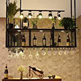 AERVEAL Hanging Wine Bottle and Glass Rack Suitable for Wine Glass Storage 2-Tier Ceiling Bottle Beverage Stand Cocktail or Champagne Flutes for Kitchen Bar Pubs or Restaurants Rack,80Cm(31.5In),80Cm