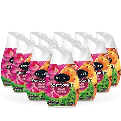 Renuzit Scent Swirls Air Freshener Gel, Peach, Freesia & Garden Mint, 7 Ounces (12 Count)