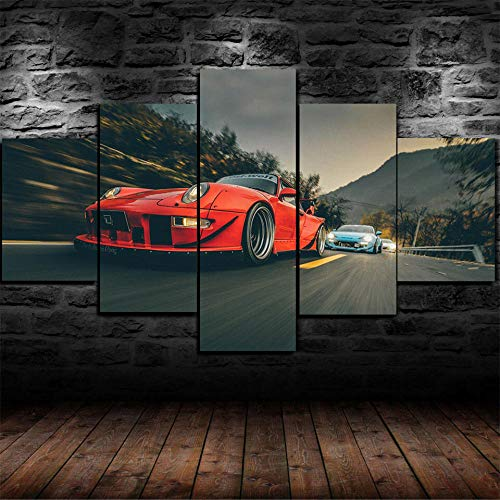 GSDFSD Framed Porsc 911 Carrera 4s gulf Sports Car 5 Piece Canvas Print Wall Art Decor - 200 * 100 Cm