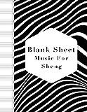 blank sheet music for sheng: music manuscript paper, clefs notebook, blank sheet music compositio, composition notebook, black wave stripe background ... music sketchbook, composition book gift