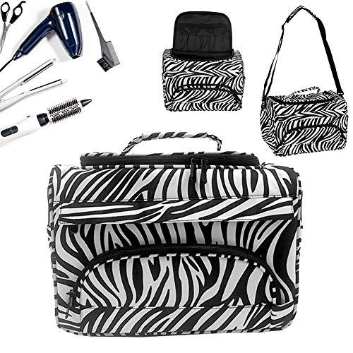 Bolsa para peluquería, bolsa de peluquería Puerta Tijeras Portátil Puerta peine funda de viaje funda de viaje (Zebra)