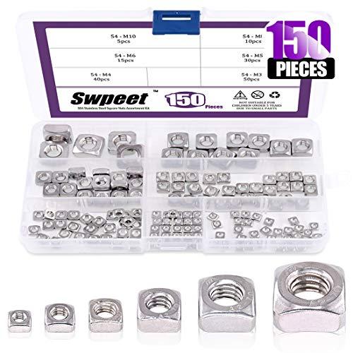 150Pcs 304 Stainless Steel 6 Sizes Metric Square Nuts Assortment Kit, Machine Screw Nuts Metric Coarse Thread - M3 M4 M5 M6 M8 M10