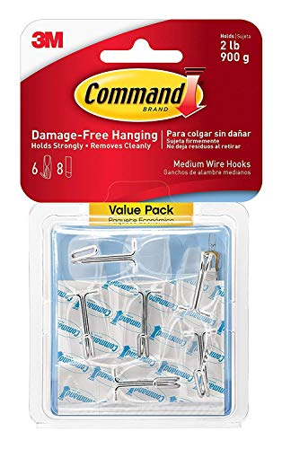 Command Wire Toggle Hook Value Pack B6X5, Medium, Clear, 24-Hooks