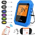 Bluetooth Meat Thermometer, Wireless BBQ Thermometer, Digital Cooking Thermometer for Grilling Smart APP Control with 6 Stainless Steel Probes, Support iOS & Android (Blue)