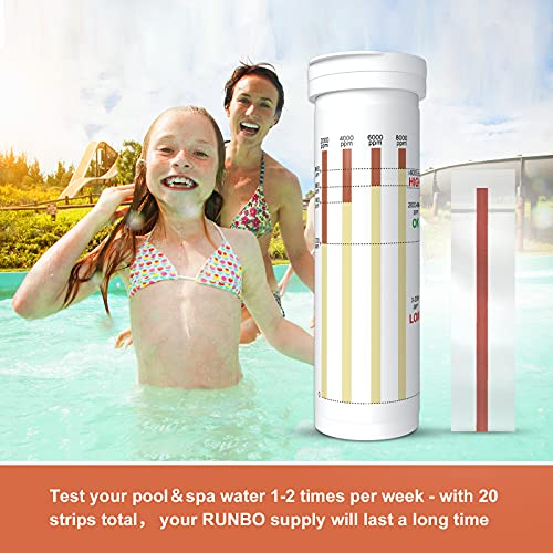RUNBO Saltwater Pool Test Strips (20 Count) – Ideal for Salt Swimming Pools and Spa - Easy and Accurate Test for Sodium Chloride 0-8000 ppm