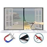 WISKEO Fliegengitter Magnet Fenster Verschiedene Größen Insektenschutz Klettband Anti-Moskito Insektenschutzgitter Innen Entfernbar Dach Schiebe Tür - Schwarz 70x50CM(WxH)
