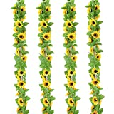 OUTLEE 4 Pack Artificial Sunflower Garland Faux Silk Sunflower Vines with 12 Flower Heads 8 ft Long for Home Garden Wedding Party Decor …