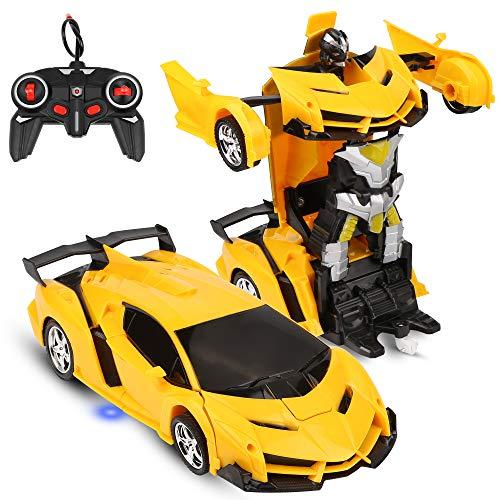 Coche teledirigido coche teledirigido coche Transformer Robot Infantil Rotación 360° Freno Recargable RC Coche con Mando a Distancia Radio Coche de Alta Velocidad