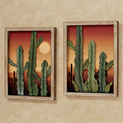 Desert at Sunset Southwest Cactus Wall Art Set of Two, 3D Metal Cacti in Front of Majestic Desert Print, Each Panel is 21 by 16 Inches, 2 Inch Depth Set of two