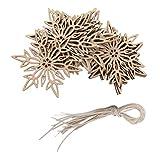 Lot de 10pcs Suspension Flocon de Neige en Bois Embellissement Décoration Suspendue pour Sapin de Noël #2