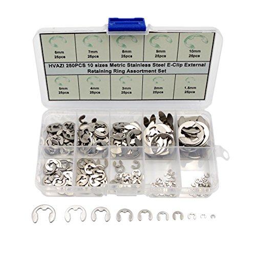 HVAZI 250PCS Stainless steel E-Clip External Retaining Ring Assortment Set