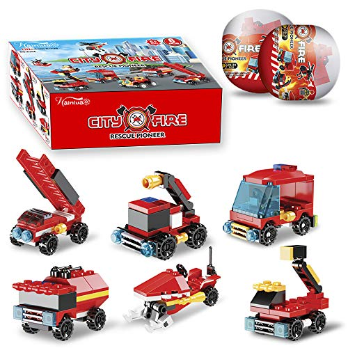 222Pcs Fire Rescue Vehicles Building Blocks Set , 6 Different Models Filled in 6 Easter Eggs Including Fire Boat,Helicopters and Fire Truck for Kids Easter Egg Fillers, Easter Basket Fillers #1-#6