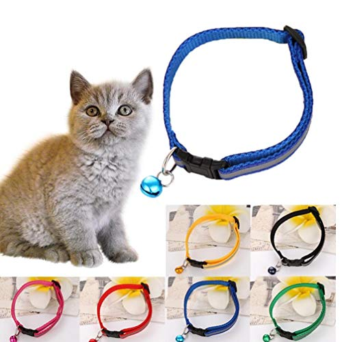 PiniceCore 1x reflexiva Azul de Bell del Animal doméstico Collar del Gato Gatito Chihuahua Ajustable Collar de Perro pequeño para Mascotas Accesorios Producto