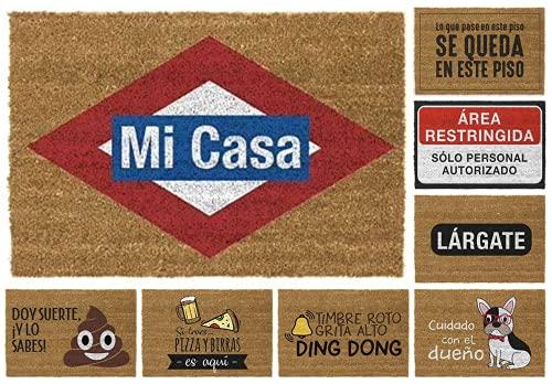TIENDA EURASIA Felpudos Entrada Casa Originales y Divertidos - Material : Fibra de Coco HQ con Base Antideslizante de PVC - Medidas : 40x70 cm (MI CASA)