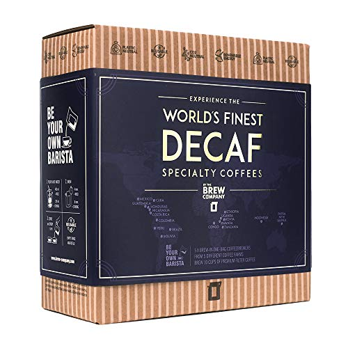 Decaf Coffee Gift Set for Men & Women – 5 of the World's Finest Single Estate Specialty & Organic Gourmet Coffees | Brew & Enjoy Anytime, Anywhere | Hamper Style Letterbox Gift Idea for Him & Her